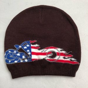 9b78f94b2e8 Other - Brown knit American flag motorcycle beanie hat